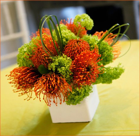 modern orange and green baby shower