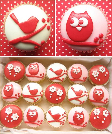 owl and bird cupcakes