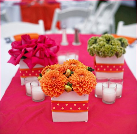 pink and orange summer wedding