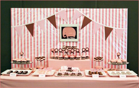 pink elephant party dessert buffet