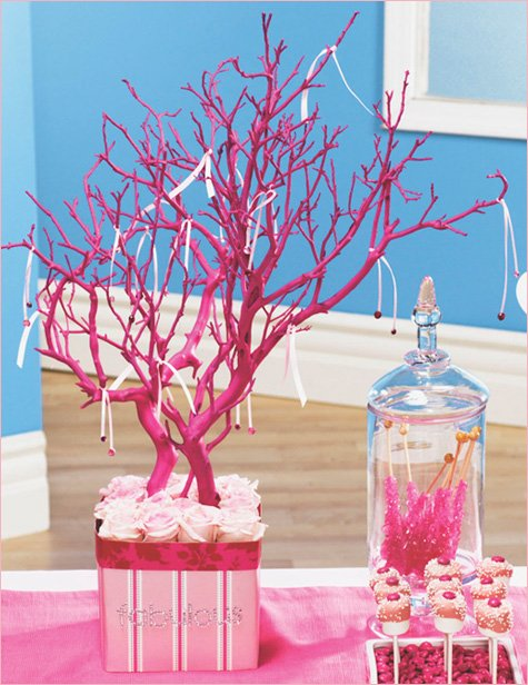 pink party ideas - pink ribbon centerpiece
