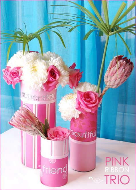 pink centerpiece breast cancer awareness
