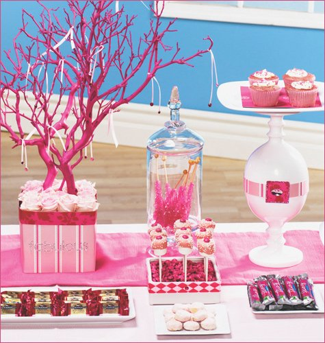 pink ribbon dessert buffet