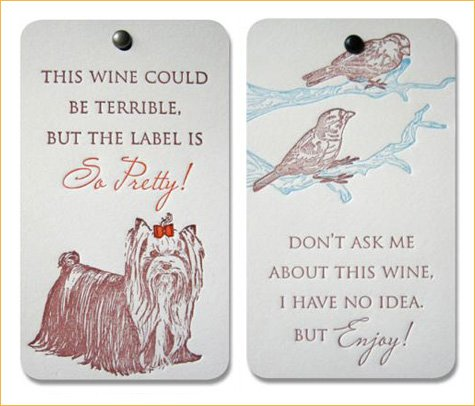 Popptags - letterpress wine bottle tags