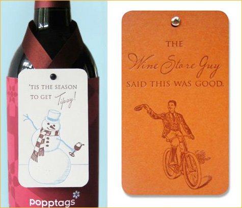 Popptags - letterpress wine bottle tags