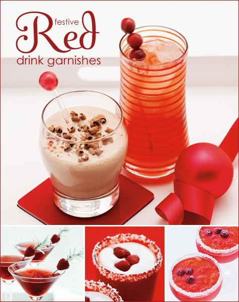 red holiday drink ideas and garnishes