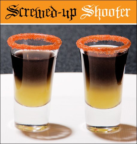 halloween cocktail - screwdriver shot