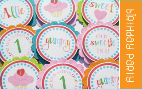 personalized cupcake toppers & favor tags