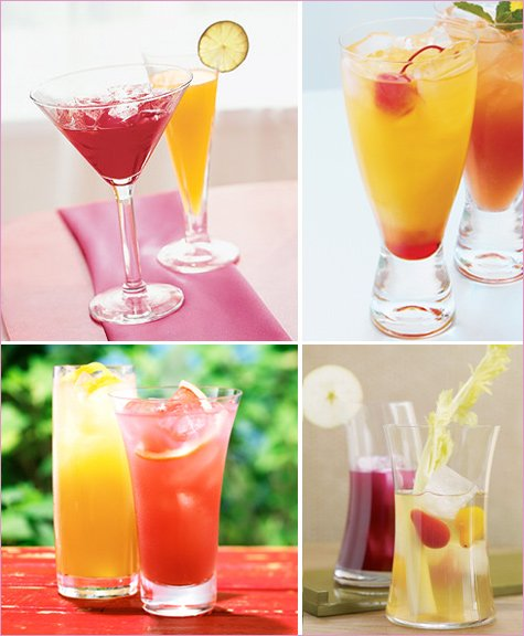 red and yellow cocktails