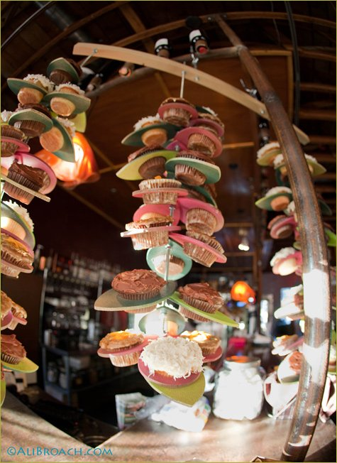 modern suspended cupcake tower