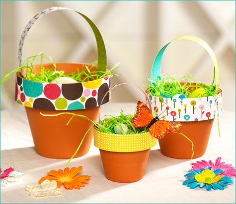 Diy terra cotta easter baskets hostess with the mostess easy easter craft centerpiece idea negle Images