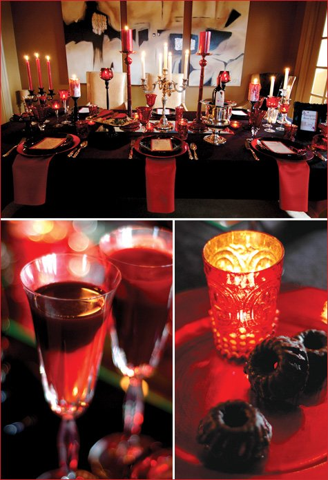 A lush vampire style dinner party hostess with the mostess for Halloween dinner party food for adults