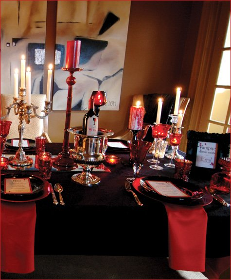 a lush vampire style dinner party hostess with the mostess