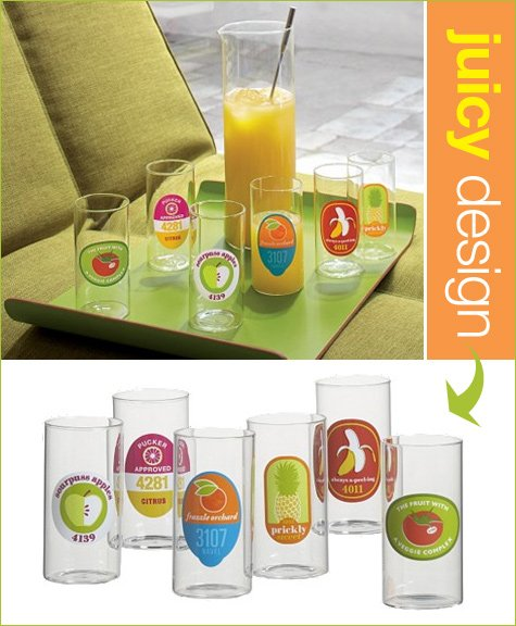 vintage mod juice glasses