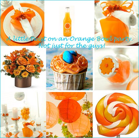 orange winter bridal shower