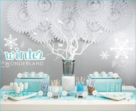 Winter wonderland dessert buffet hostess with the mostess - Deco baby shower garcon ...