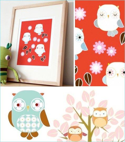 yumiyumi modern owl prints