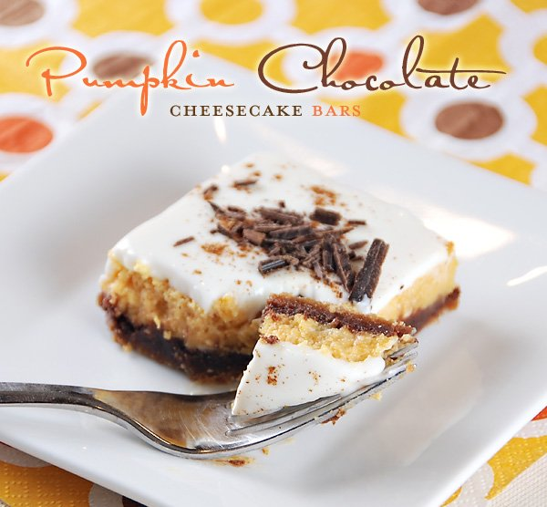Layered Pumpkin-Chocolate Cheesecake Bars // Hostess with ...
