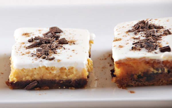 Pumpkin Chocolate Cheesecake Bars - Holiday Dessert