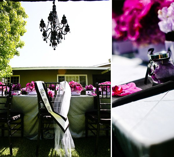Purple & Black Bridal Shower Wedding