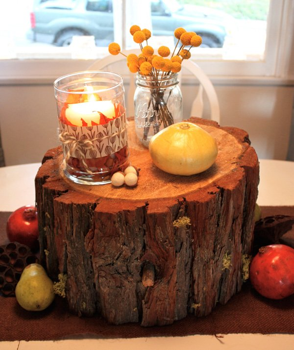 Real parties rustic fall celebration hostess with the for Simple table decoration ideas for great celebrations