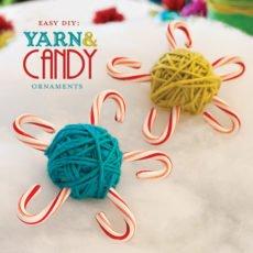 DIY Candy Cane Yarn Ornaments