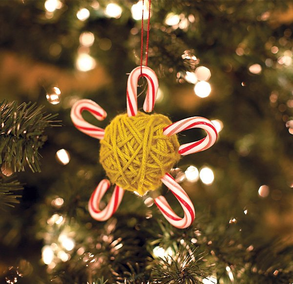 DIY Candy Cane Yarn Ornaments