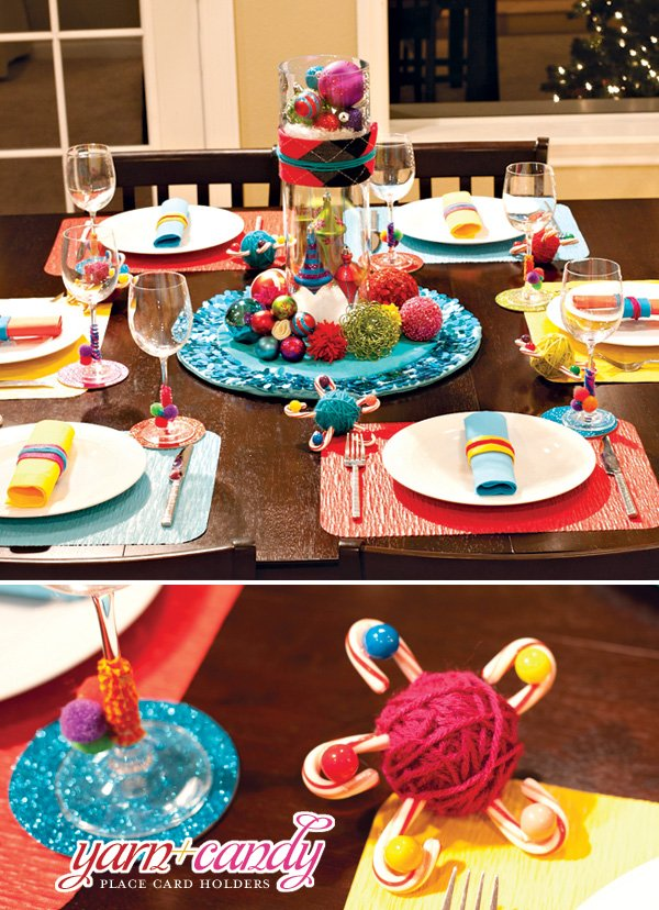 colorful crafty Christmas table ideas