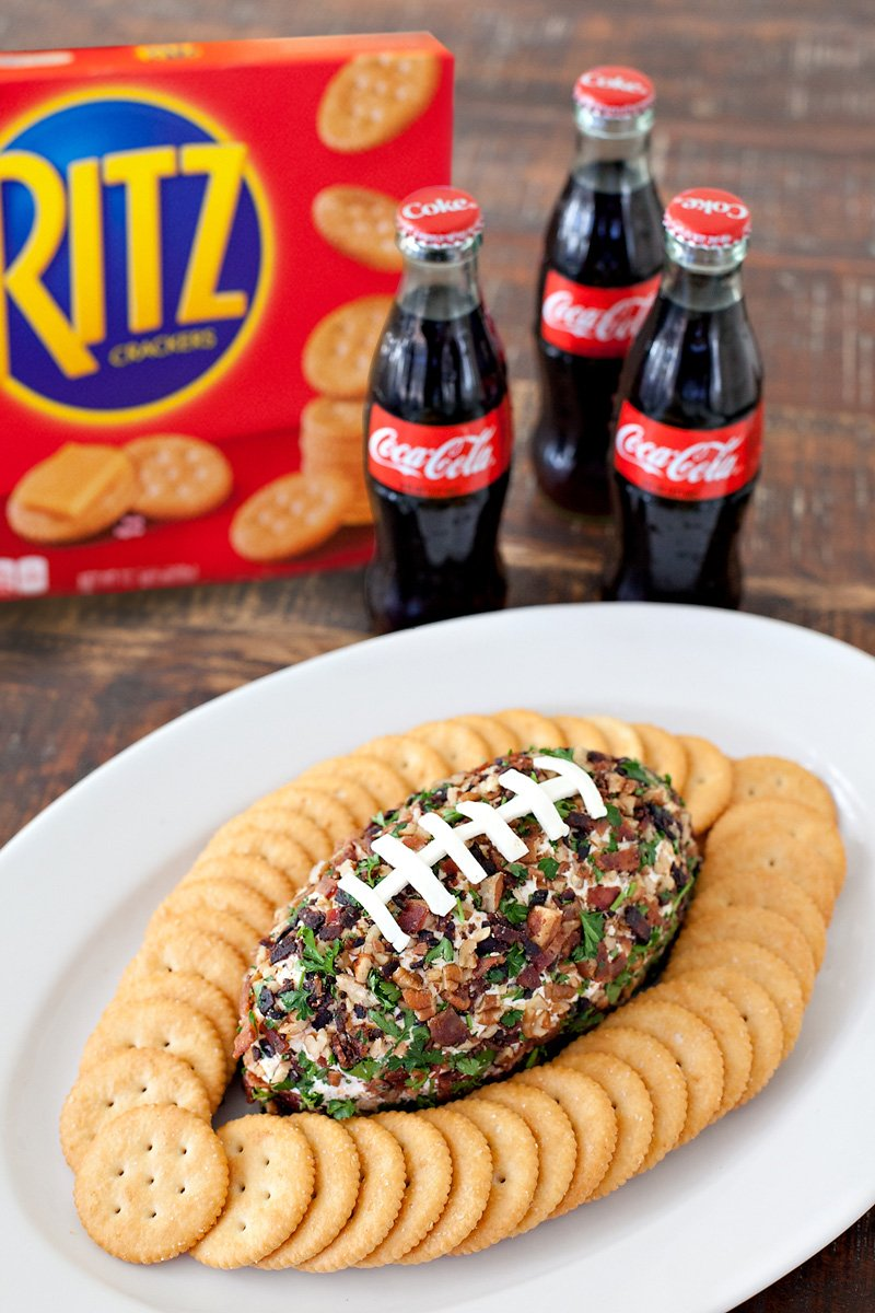 Game Day Recipe - Bacon Ranch Cheddar Football Cheese Ball