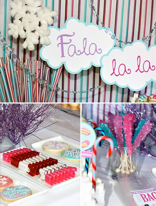 kids Christmas Party ideas - penguins and snowflakes