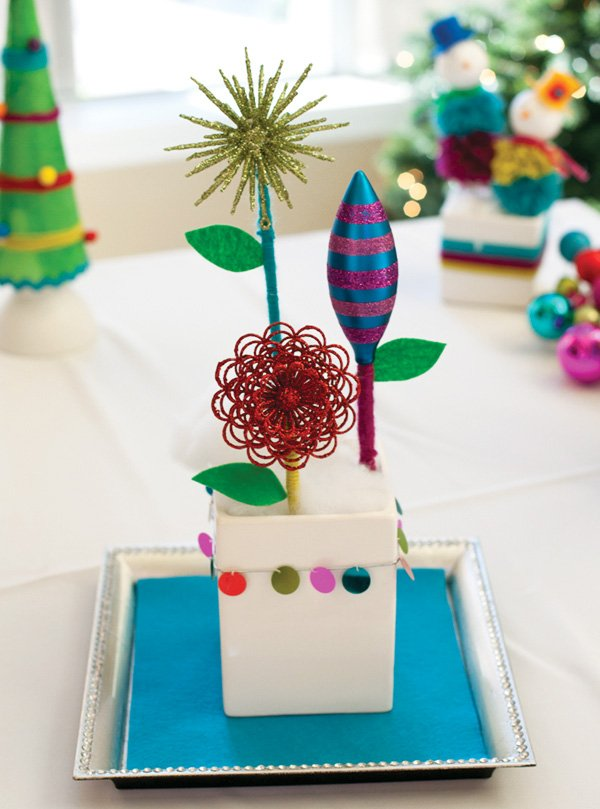 Holiday diy ornament garden centerpiece hostess with