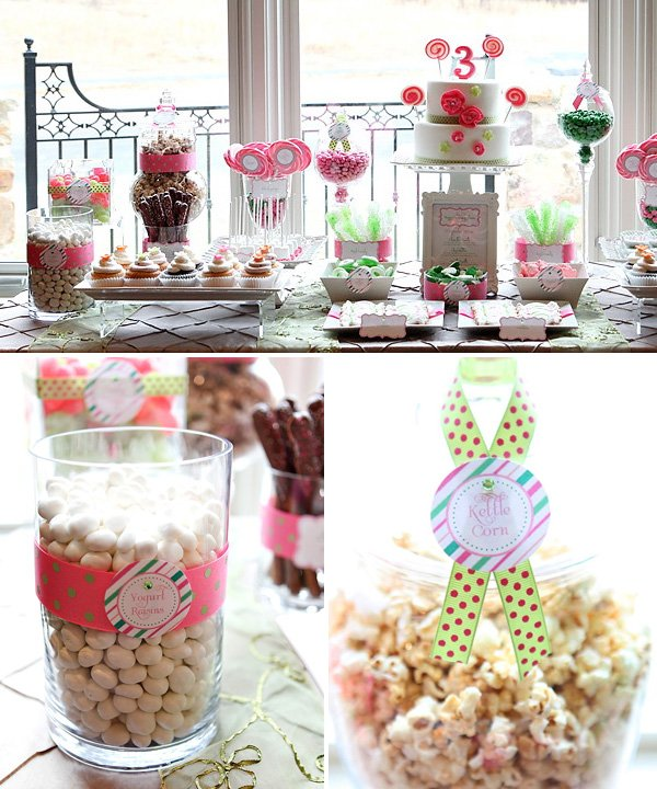 lollipop birthday party dessert table