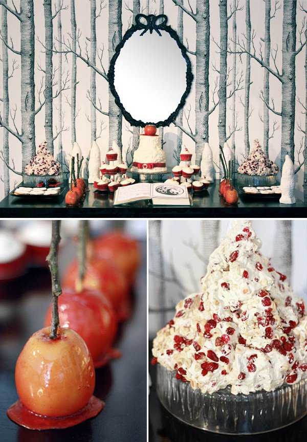 vintage snow white dessert table