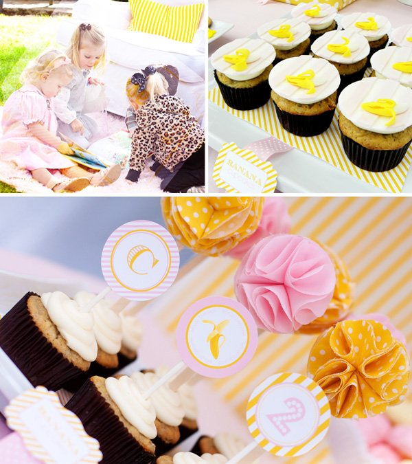 Banana Cupcake, Banan Cupcake Toppers, and Curious Charley