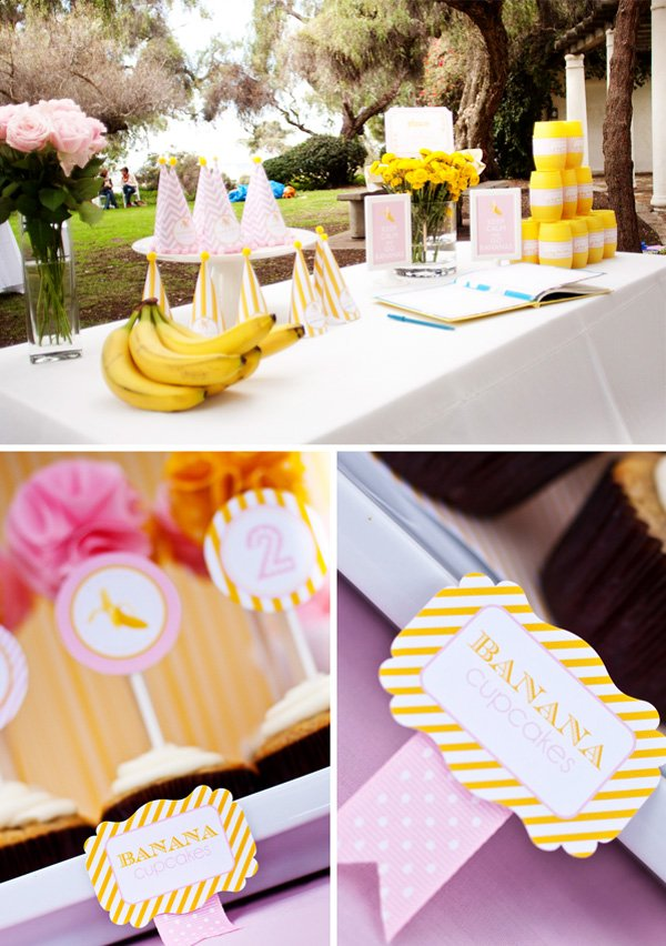 Cupcake Toppers, Banana Cupcake, and Adorable Party Hats