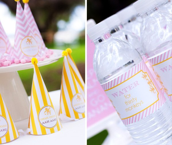 Curious Charley Party Hats and Water Bottle Labels