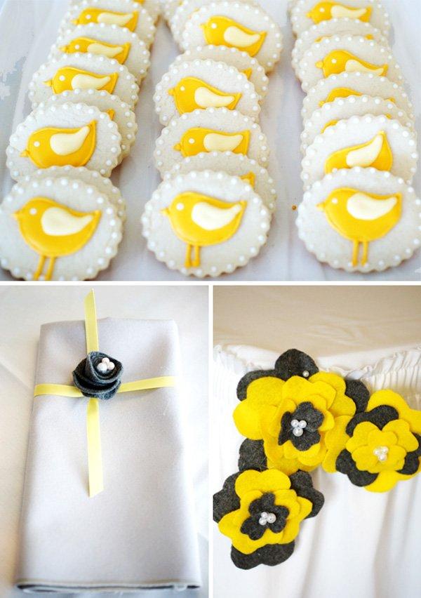 Bird Cookies and Felt Flower Details