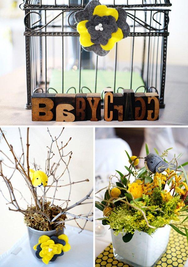 Bird Cage and Floral Arrangements