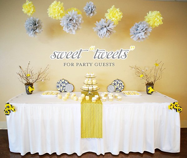 bird inspired baby shower yellow gray hostess with the mostess