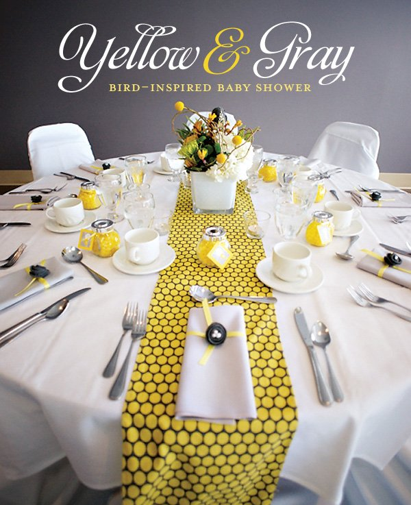 Amazing Yellow & Gray Bird Inspired Baby Shower