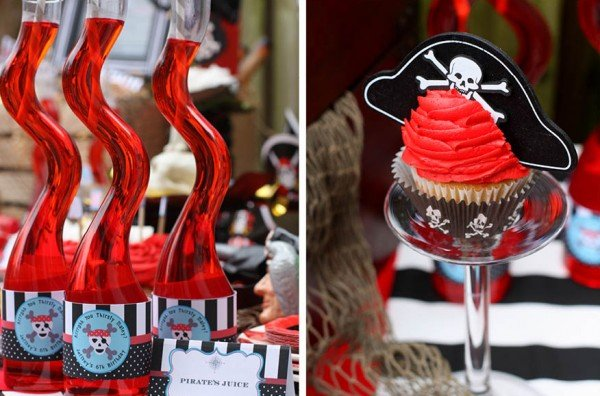 pirate birthday cupcakes and juice