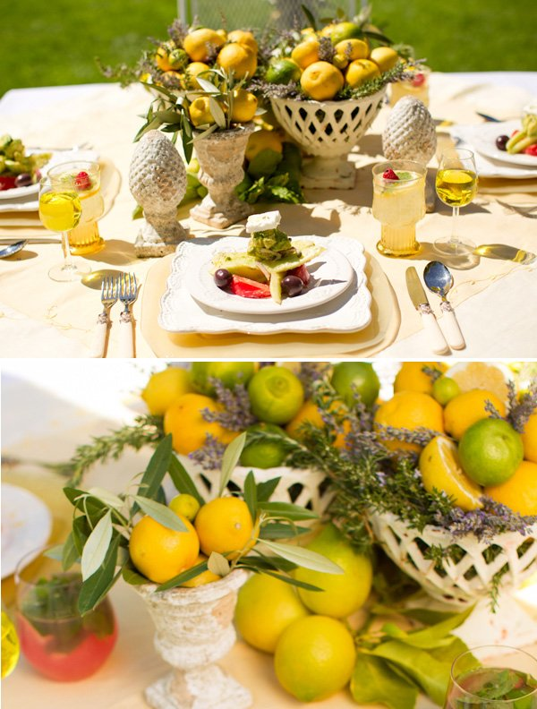 Vintage rustic lemons lavender theme hostess with the