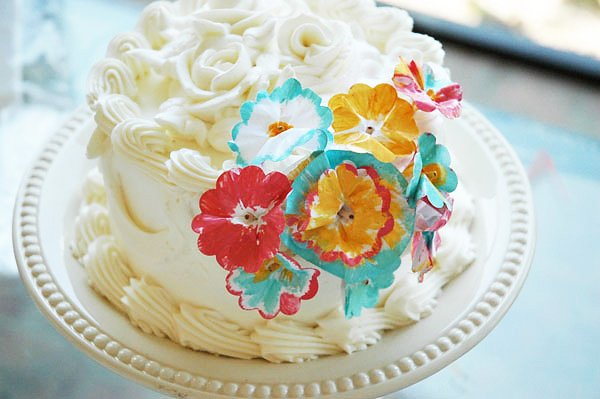 Painted paper flower cake decorations