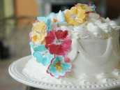 Painted Paper flower cake decor
