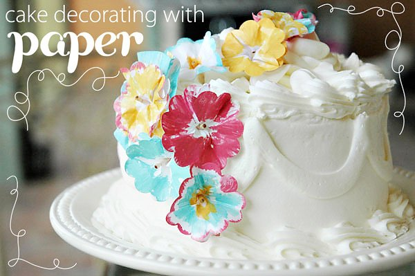 Painted Paper Cake Flower Decor