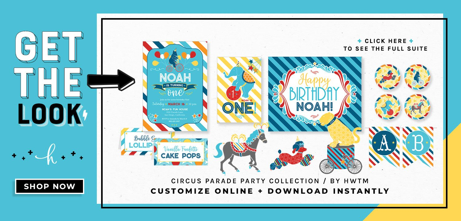 Circus Birthday Party Printables - Blue