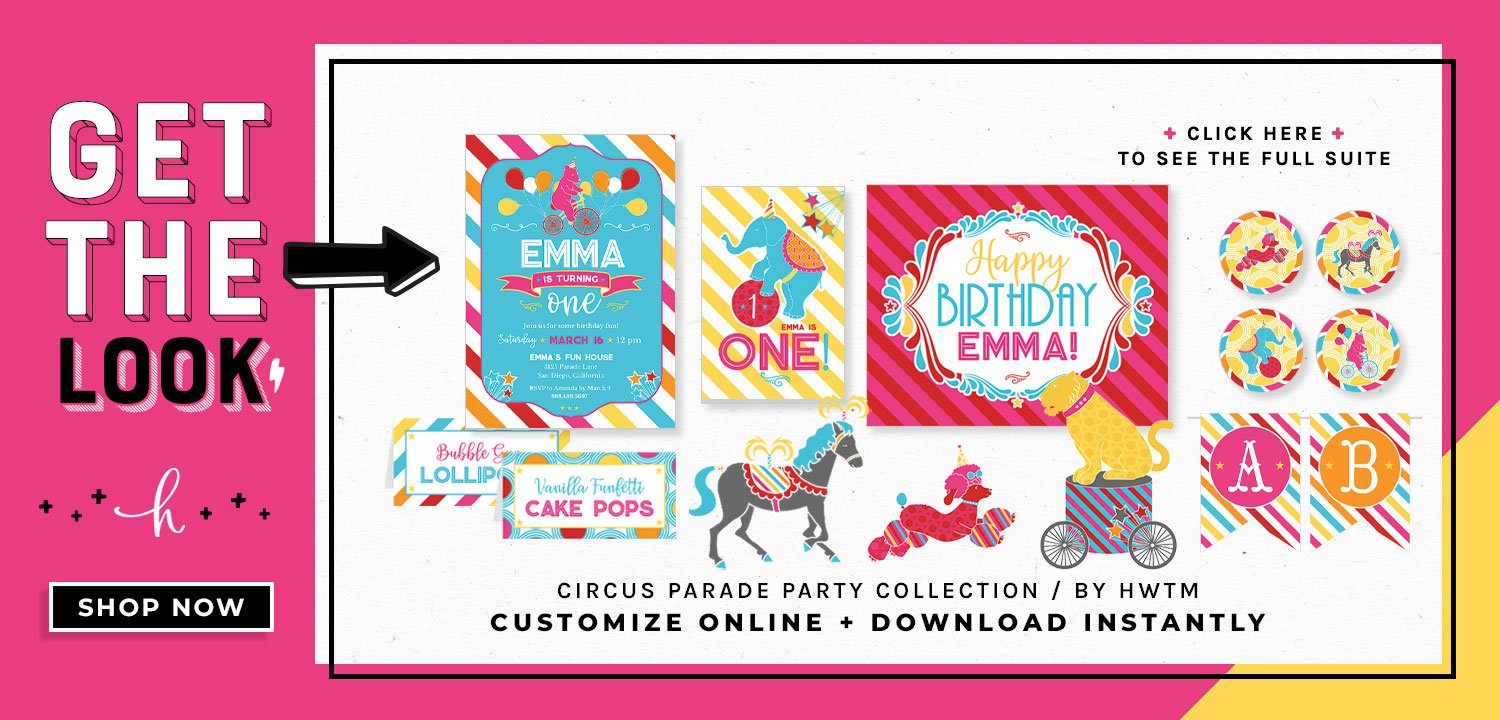 Circus Birthday Party Printables - Pink