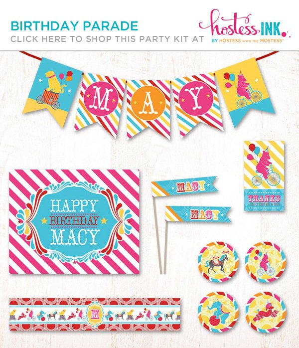 pink birthday parade party printables collection