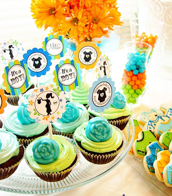 Custom Cupcake Toppers and Shower Details