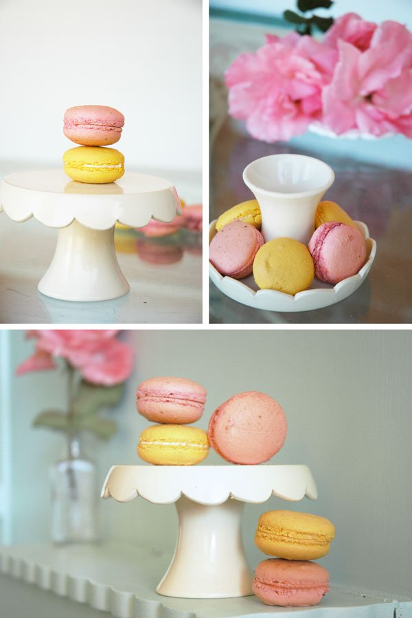 French Macarons displayed on Homemade Cupcake Stands